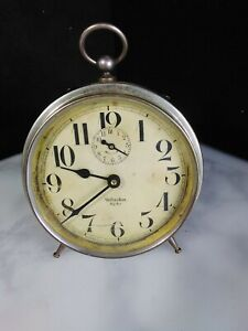 Antique-1918-1935-WESTCLOX-BIG-BEN-034-STYLE-1a-034-Alarm-Clock-Nickel-Finish