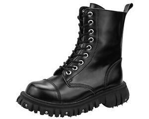 Up u Boots Zipped Studded Lace k Men's T Screw Black 9 Eye Ankle Port fzwqA1d