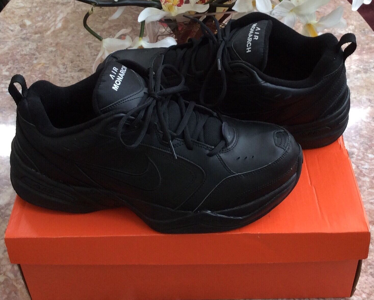 Nike Air Monarch Men's Black Leather Athletic Running Shoes Comfortable