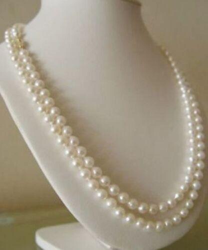 """Lange 48 /""""6-7mm Echte Natürliche Weiße Akoya-Zuchtperlen Halskette"""