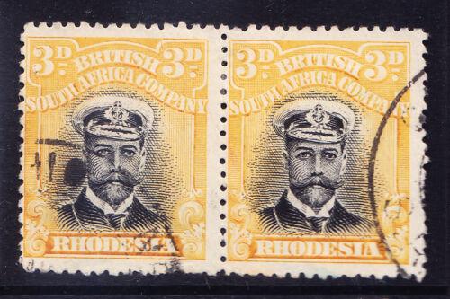 RHODESIA George V 1913 SG210 3d black & yellow die I P14 -fine used pair cat £48