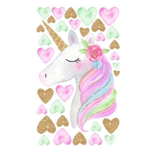 Colorful Unicorn Star Heart Wall Decal Wall Sticker Kids Nursery Home Decor