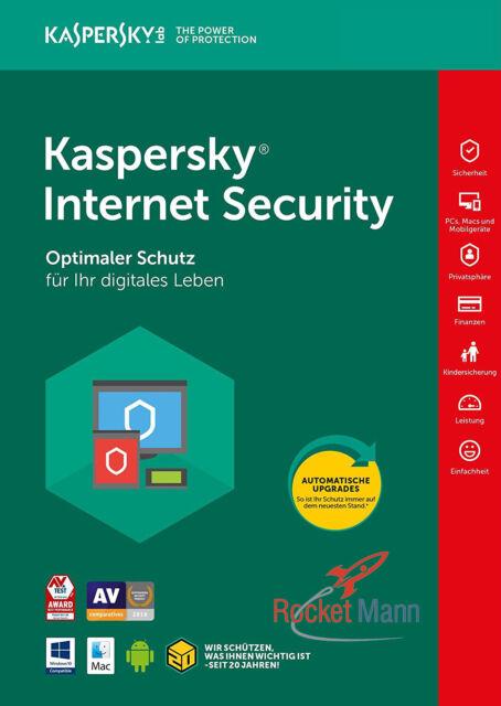 Kaspersky Internet Security 2018 3PC / Geräte 1Jahr Vollversion Lizenz Key