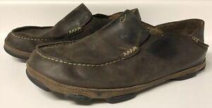 Olukai-Moloa-Brown-Leather-Casual-Slip-On-Moc-Toe-Loafers-Shoes-Men-039-s-11-5