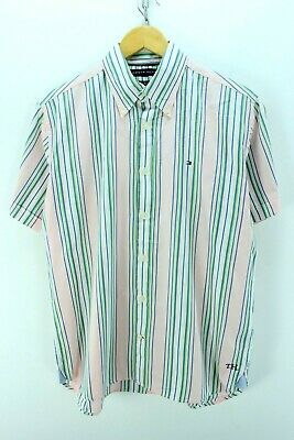 Clothing, Shoes & Accessories Tommy Hilfiger Men's Striped Shirt Size M Striped Short Sleeve Cotton Cd1243 Products Are Sold Without Limitations Casual Button-down Shirts