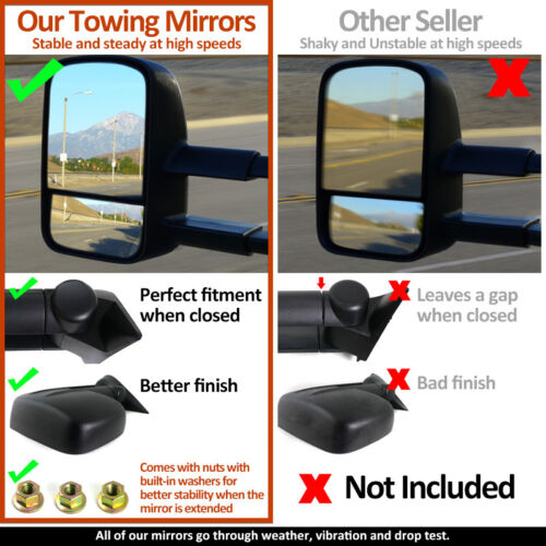 2004-2014 Ford F150 Pickup Truck MANUAL Telescoping Towing Side Mirrors PAIR