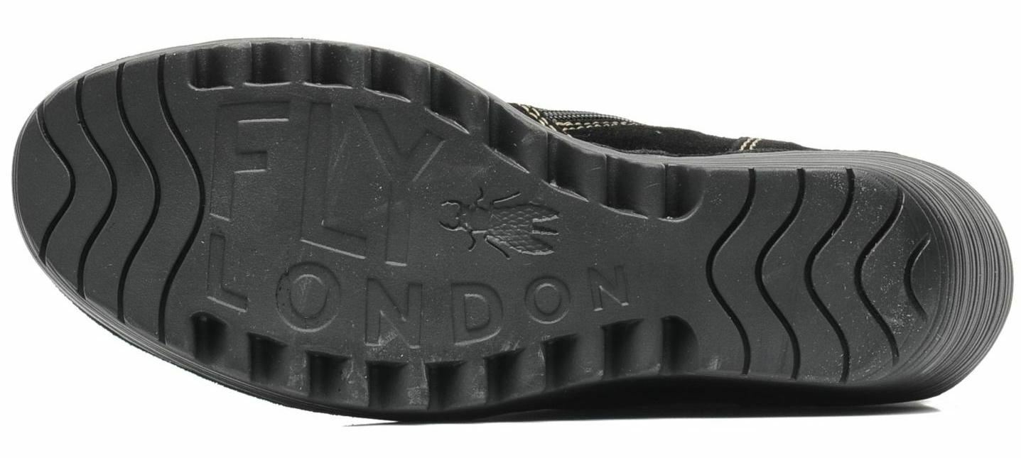 Fly London Yust Hi Schwartz Oil Wildleder Damen Knie Hi Yust Keil Schuhe Stiefel 1e3a3c