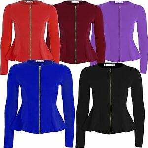 Womens Zip Blazer Peplum Ruffle Blazer Jacket Top Size Frill Tailored 8-22 New