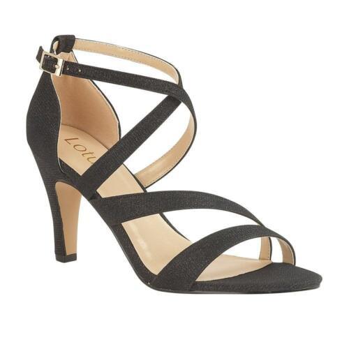 sandalo nero con lacci motivo di Lotus Tacchi con Rimes 7wB5n4tq