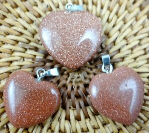 3PC-Gold-sand-stone-Heart-shaped-pendant-Gem-necklace-earring-Jewelry-Making
