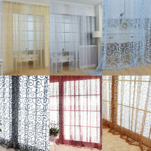 Exquisite-Floral-Tulle-Voile-Window-Curtains-Drape-Panel-Sheer-Scarf-HOT