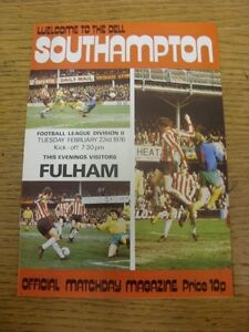 23021976 Southampton v Fulham   Item appears to be in good condition unless p - <span itemprop=availableAtOrFrom>Birmingham, United Kingdom</span> - Returns accepted within 30 days after the item is delivered, if goods not as described. Buyer assumes responibilty for return proof of postage and costs. Most purchases from business s - Birmingham, United Kingdom