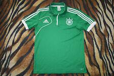men ADIDAS polo shirt GERMANY green JERSEY white trikot DEUTSCHLAND 38/40
