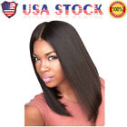 US Fashion Medium Straight Middle Part Black Women's Hair Wig Bob Full Wigs