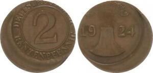 Weimar 2 Pension Penny 1924 D Lack Coinage: 20% Dezentriert XF
