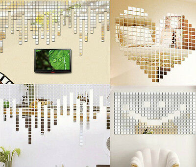 20Pcs Acrylic Art 3D Wall Mirror Stickers DIY Home Decals Decor Removable LOAC