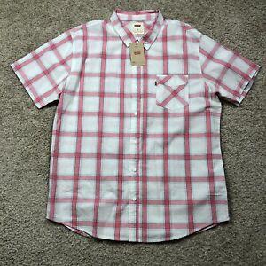 NWT-Levi-039-s-White-Pink-Plaid-Short-Sleeve-Button-Down-Men-039-s-Shirt-size-2XL