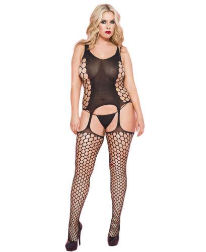 Music Legs 1568Q Plus Size Spandex Hexagon Net Suspender Bodystocking