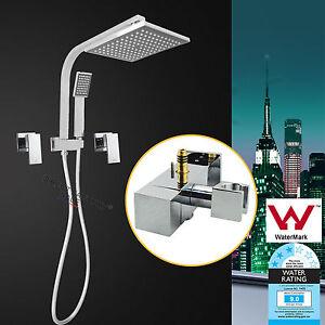 Square-8-034-200MM-ABS-Shower-Head-Handheld-Diverter-Brass-Hot-Cold-Taps-Set-Chrome