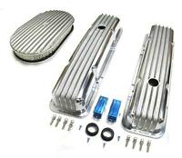 58-86 Chevy Polished Aluminum Finned Valve Covers & 15 X 2 Air Cleaner Kit Sbc