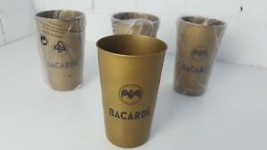 4-X-Bacardi-Rum-Gold-Metal-Cups-BRAND-NEW-AND-UNUSED-MANCAVE-ACCESSORY