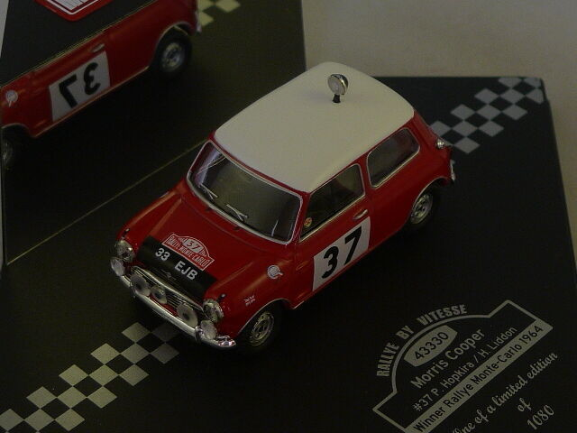 VITESSE - Morris cooper vainqueur rallye monte carlo 1964 N°37 Hopkira - Liddon