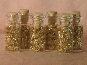 GOLD-FLAKES-IN-12-MINI-GLASS-BOTTLES-NO-LIQUID