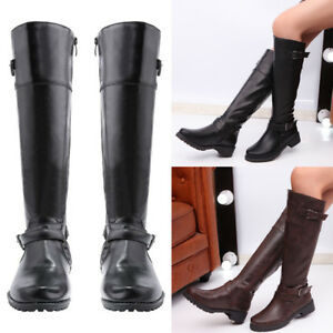 Ladies Womens New Flat Heel Knee High Zip Up Slouch Riding Pixie Boots Shoe Size