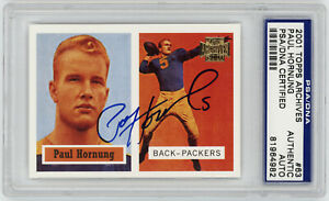 2001-PACKERS-Paul-Hornung-signed-card-1957-Topps-Archives-63-AUTO-PSA-DNA-Slab