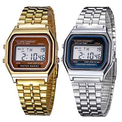 Elegant Mens Womens Retro Stainless Steel LCD Digital Sports Stopwatch Watch