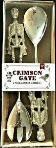 Halloween-Serving-Set-Skeletons-Heavy-Duty-Metal-Kitchen-Party-Crimson-Gate-2pc