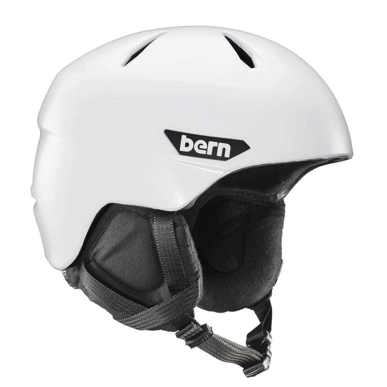 Bern Hombre Weston Nieve Casco Satinado blancoo W   Negro Forro Nuevo con