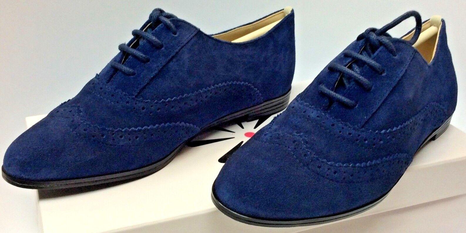 Isaac Mizrahi 'Fiona' Dark bluee Suede Pinhole Lace Up Wingtip Oxford Flats 6W