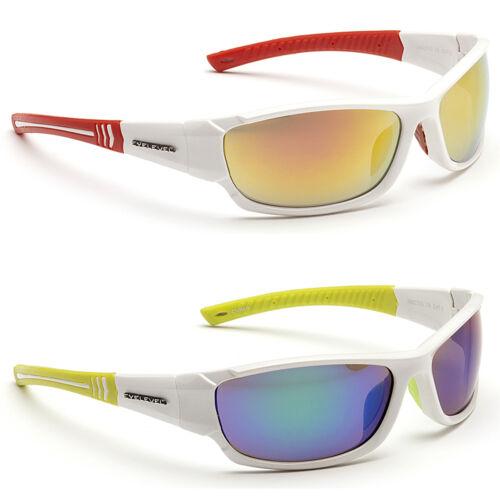 Mens Wrap Around White Sports Mirror Biker Ski Mirrored Sunglasses Green Red