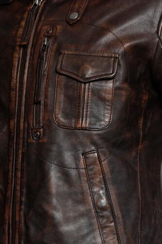 Men/'s Vintage Brown Slim Fit 100/% Leather Retro Biker Jacket
