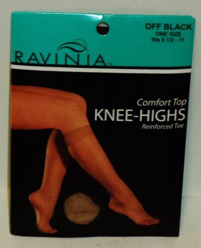 1 Package 1 Pair Of Ravina Comfort Top Knee Highs OFF BLACK One SZ 81//2 To 11