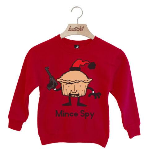 BATCH1 CHRISTMAS MINCE SPY SECRET AGENT NOVELTY FESTIVE XMAS KIDS SWEATSHIRT