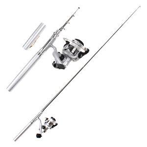 Mini-Portable-Aluminum-Alloy-Pocket-Pen-Shape-Fishing-Rod-Pole-Reel-Silver-UK