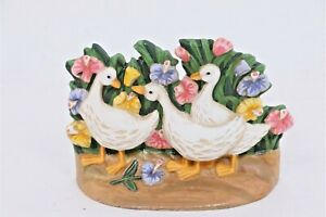 Vintage-CAST-IRON-Doorstop-Three-Ducks
