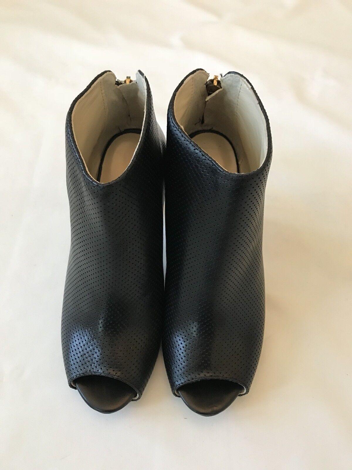 LA LA LA PERLA LEATHER OPEN TOES StiefelIES schuhe Ankle SZ 39 (US 8.5-9) schwarz   8c667b