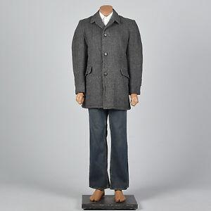 49340365d92 42L 1950s Mens Black Gray Wool Car Coat Winter Overcoat Long Sleeves ...