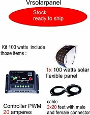 100 WATTS FLEXIBLE SOLAR PANEL KIT - PANNEAU SOLAIRE, RV, HOUSE, BOAT, BIMINI