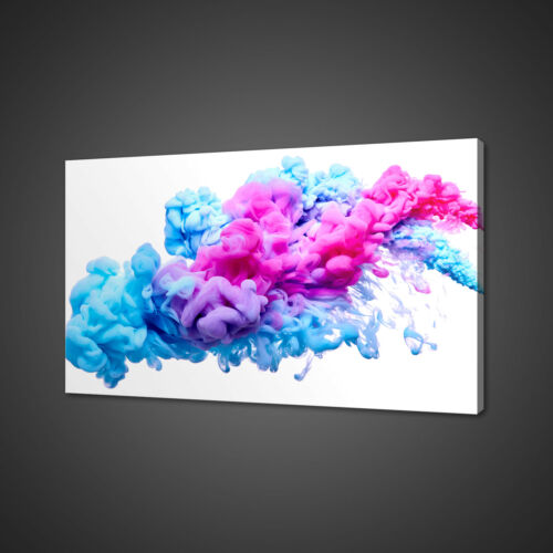 BLUE PINK SPLASH OF PAINT ABSTRACT MOUNTED CANVAS PRINT WALL ART PICTURE PHOTO