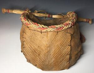 Native American Palm Frond Husk Basket Hanging Woven Basket Southwestern
