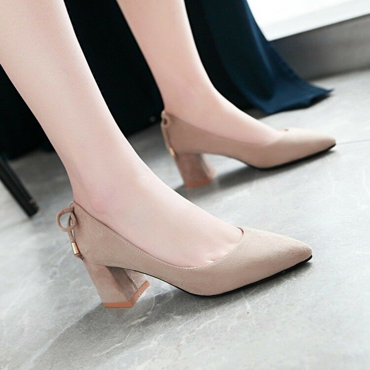 Women Mid Block Heel Solid Pull On Pumps Pointed Toe Classic Work Dating shoes