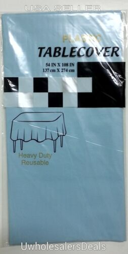 """Pick Your Color NEW Table Covers 54/"""" x 108/"""" Plastic Tablecloth Table Clothes"""
