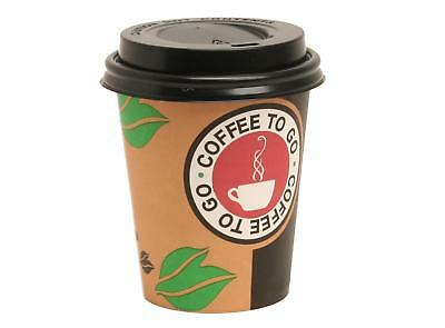 1000 x Kaffeebecher 0,2l Hartpapier Pappbecher Coffee to go Becher 2in1 Deckel