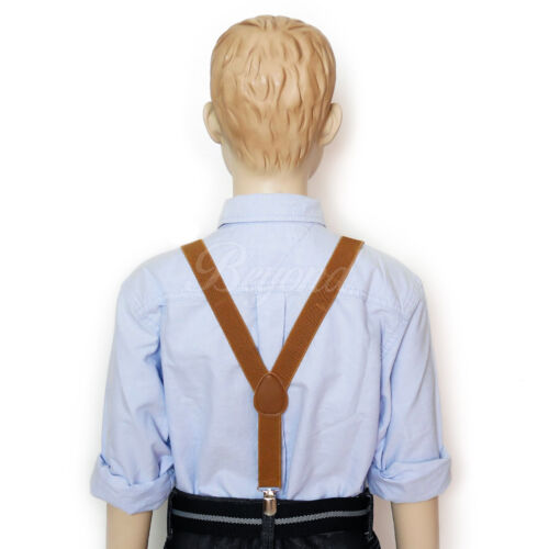 USA Seller Brown Fancy Suspender and Bow Tie Set for Baby Toddler Kids Boys