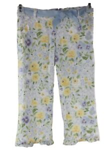 Gymboree-Girl-039-s-Blue-Yellow-Floral-Adjustable-Waist-Capri-Cropped-Pants-Size-7