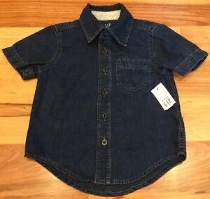 Baby-Gap-Boys-2-2T-Lightweight-Dark-Wash-Denim-Shirt-Nwt